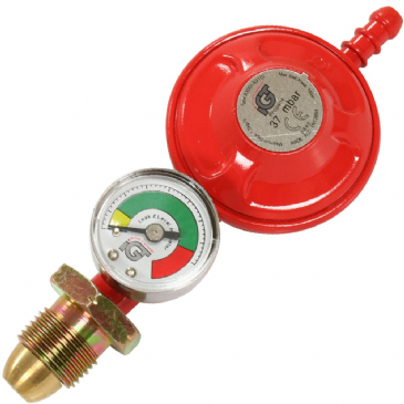 Caravan Motorhome Propane LPG Screw In Gas Regulator With Gauge 37 Mbar